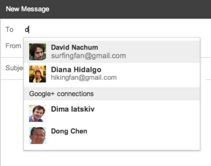 Google+-Integration in Gmail