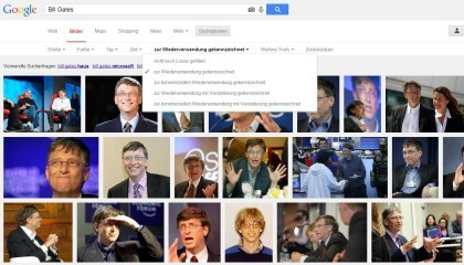 Google-Bildersuche: Filtern nach Lizenzen