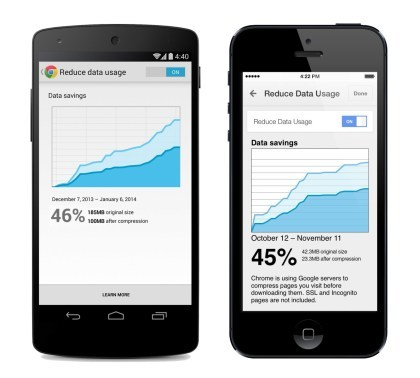 Chrome Mobile f�r Android und iOS: Datacompression