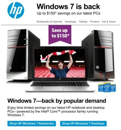 HP: Windows 7 is back