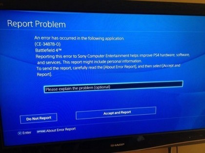 PlayStation 4: Error CE-34878-0