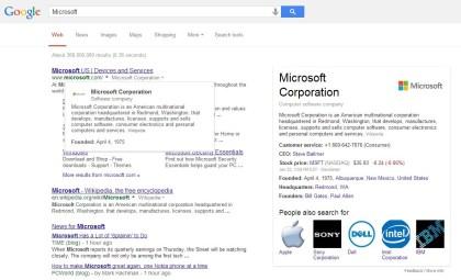 Google mit Zusatzinfos in der Suche