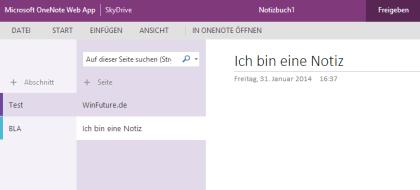 OneNote-Webseite