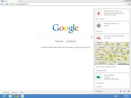 Google Now in der Chrome Beta