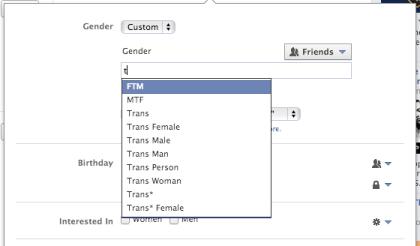 Facebooks neue Geschlechterauswahl
