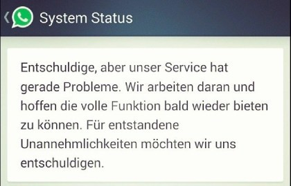 WhatsApp Fehler