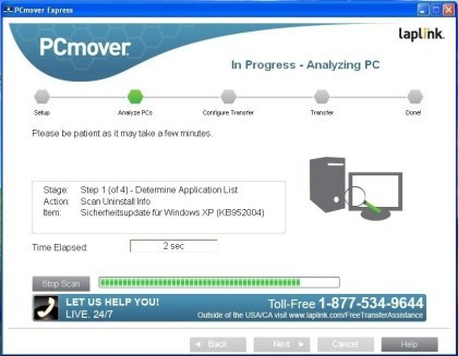 PCmover Express für Windows XP