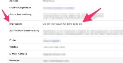 Neues Impressum für Facebook-Pages
